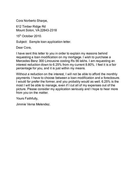 Application Letter Means Sample Loan Application Letter Free Sample Letters