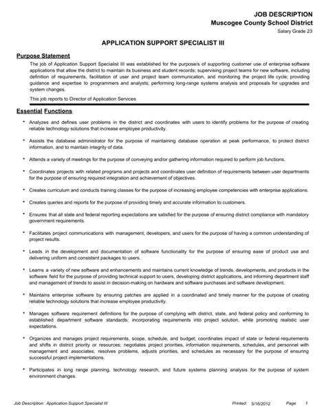 application support engineer job responsibilities resume samples