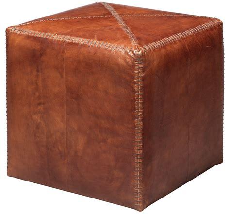 Archer Leather Cube Ottoman