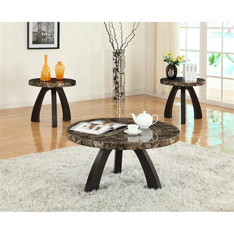 Ariadnee Round Faux Top 3 Piece Coffee Table Set