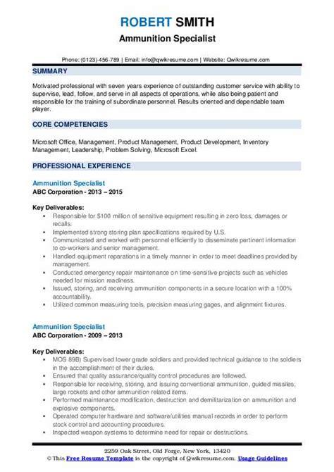 Ammunition Army Ammunition Specialist Resume.