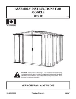 Arrow Storage Shed Instructions