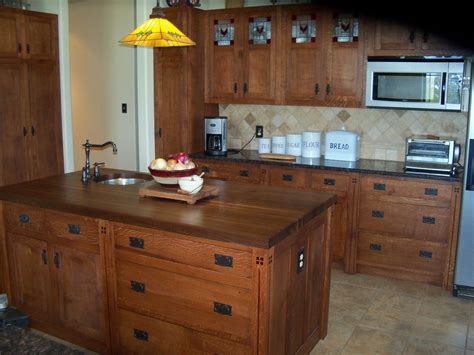 Arts and Crafts Kitchen Island with Butcher Block Top