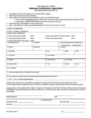 Asbestos Certification Application Ohio Ohio Department Of Health Asbestos Certification Application