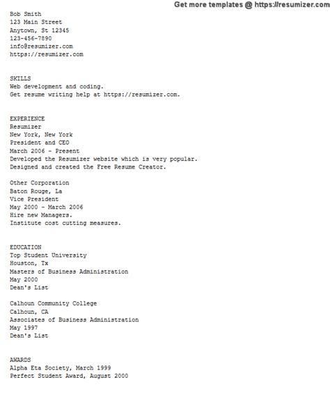 text resume builder ascii text example resume free resume creator - Free Resume Creator