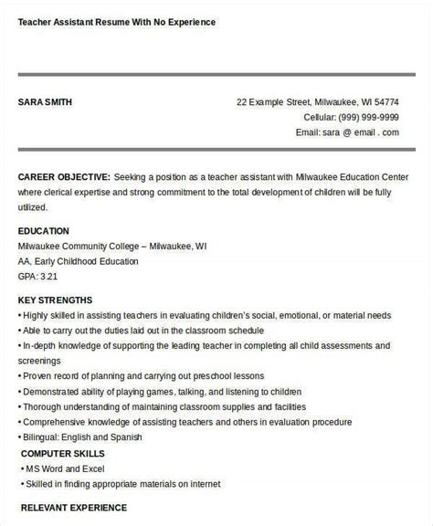 sample resume for teacher assistant with no experience assistant teacher samples no experience resumes livecareer - Sample Resumes For Teachers With No Experience