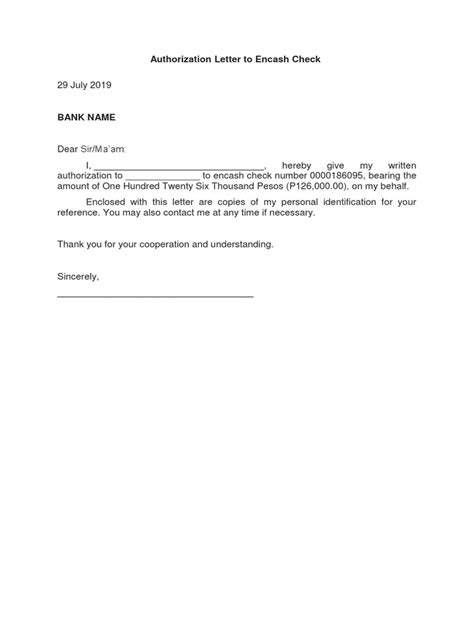 Authorization letter sample for check encashment thecheapjerseys Choice Image