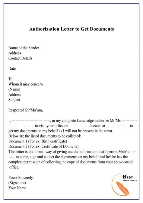 authorization letter power attorney sample authorization letter to process documents sample letter