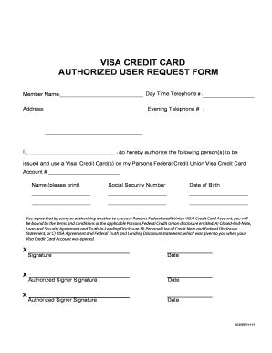 Credit Card Authorized User Limit Authorized User Request Form Personal Banking