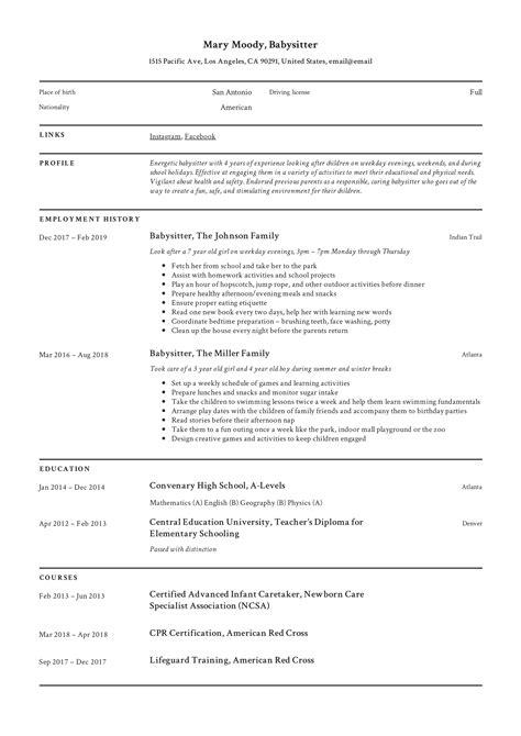 babysitting resumes objectives 3 free baby sitter resume samples in word hloom - Babysitter Resume Objective