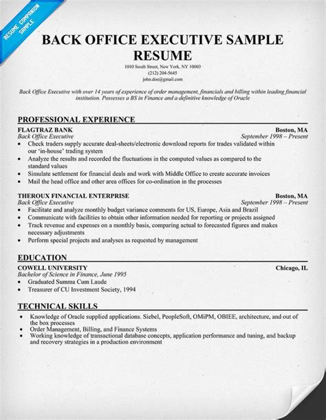 sample resume for back office executive top 8 dental office