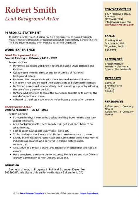 background actor resume format sample resume commercial kids - Talent Resume Format
