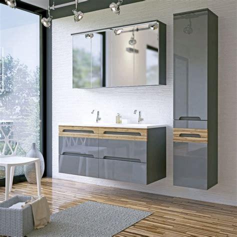 Badmöbel Set Mit 120 Cm Doppelwaschtisch Nussbaum Tiepolo Griffleiste