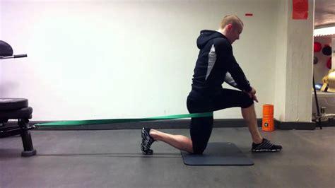 band assisted hip flexor stretches for seniors