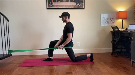band assisted hip flexor stretches with foam