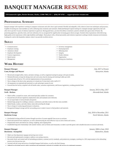sample resume of banquet manager ejemplos de resumen ficha