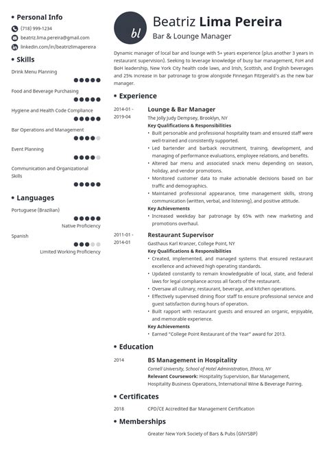 Bar manager resume sample free bartender resume template examples cv examples bar manager bar manager resume sample manager resumes livecareer yelopaper Image collections