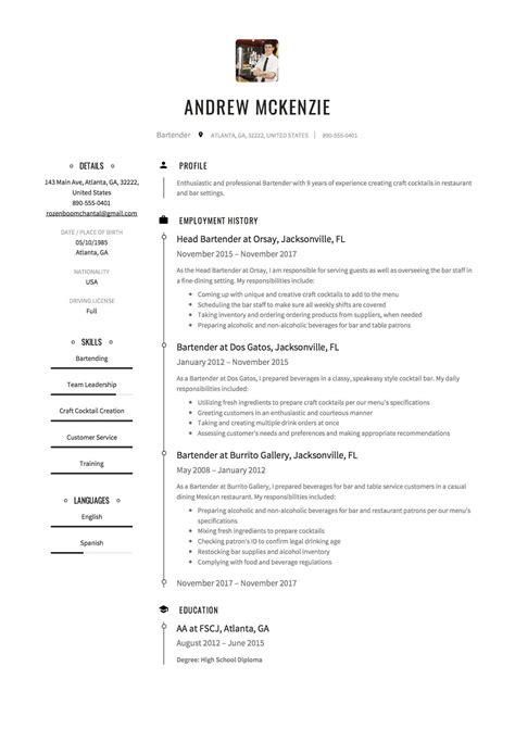great resume examples bartender bartender resume template 2 myperfectresume