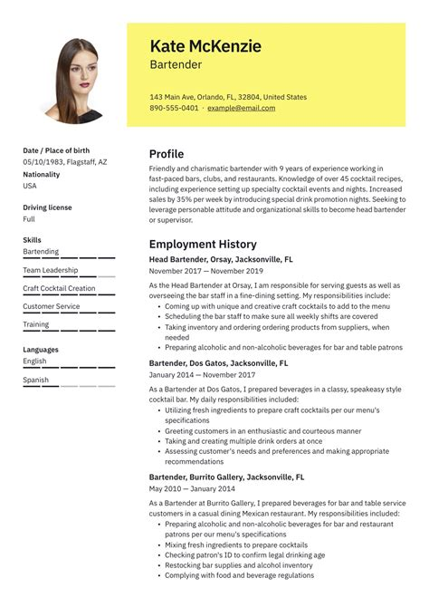 bartending resume examples internet offers various bartender resume template and samples that allow us to make - Beginner Resume Template