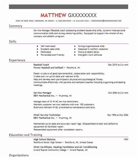 Resume Sample Resume Professional Baseball sample resume professional baseball good objectives for coach resumes livecareer