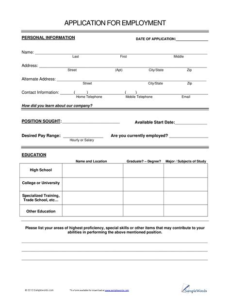 Basic Employment Application Form Pdf Mogalakwena