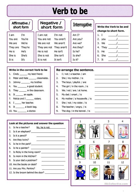 basic english grammar exercises verb to be