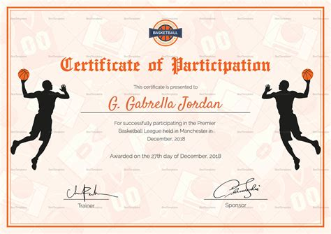 Basketball award certificate template free resume samples vp basketball award certificate template free participation certificate template 21 free word pdf yelopaper Gallery