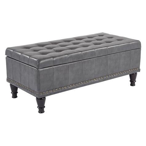 Baylie Leather Storage Ottoman