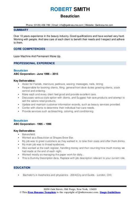 beautician job description resume hotelrestaurant resume latest resume sample - Beautician Job Description