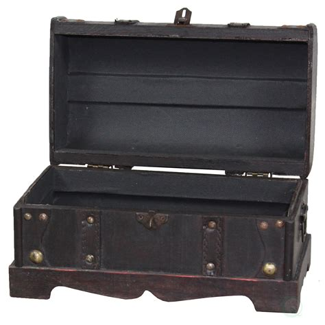Beese Small Pirate Style Wooden Treasure Chest in Antique Cherry