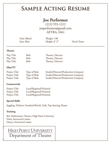 beginner acting resume template word free acting resume samples and examples ace your audition - Acting Resume Template Free