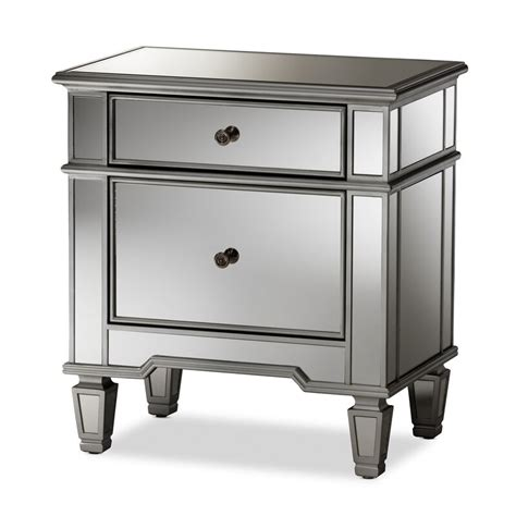 Beglin Hollywood Regency Glamour Style Mirrored 2 Drawer Nightstand