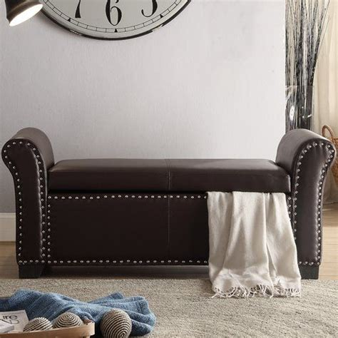 Bellard Faux Leather Storage Bench