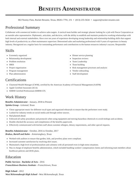 benefits administrator sample resume with objective