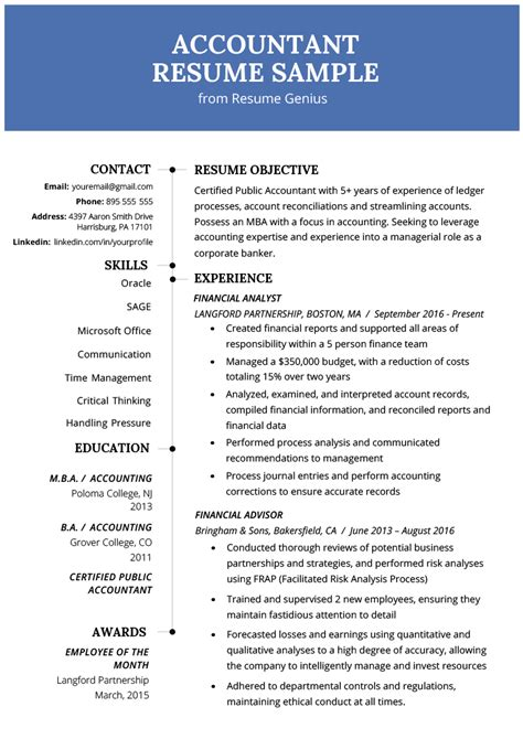 best resume format accountant canada resume examples in word