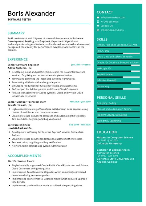 resume format software resume format for experienced software engineer best resume format software testing resume software - Embedded Software Engineer Sample Resume