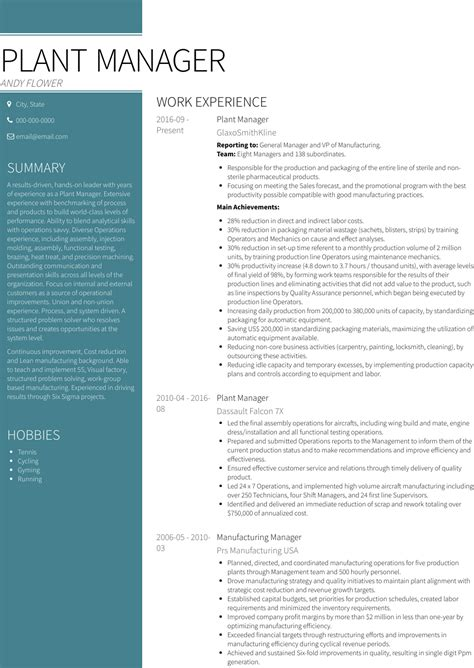 best resume format operations manager operations manager resume example - Plant Manager Resume