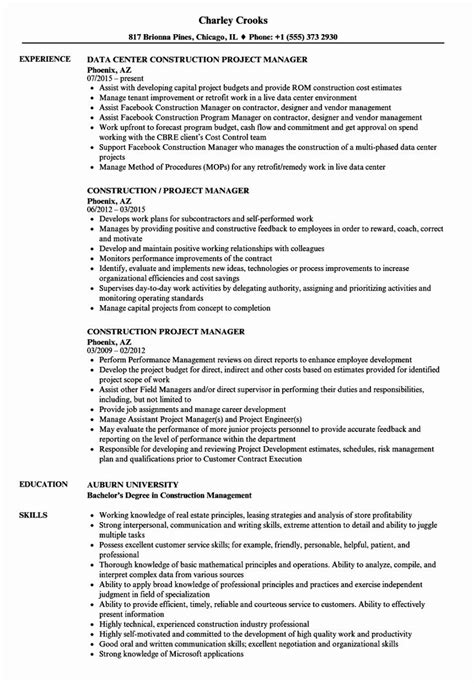 Best Sample Resume For Project Manager Construction Project Manager Cover Letter For Resume