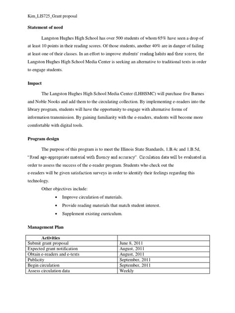 Best Sample Grant Proposal Sample Grant Proposal