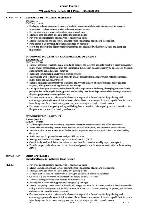 best underwriting resumes underwriting assistant resume sample best format - Underwriter Resume Sample