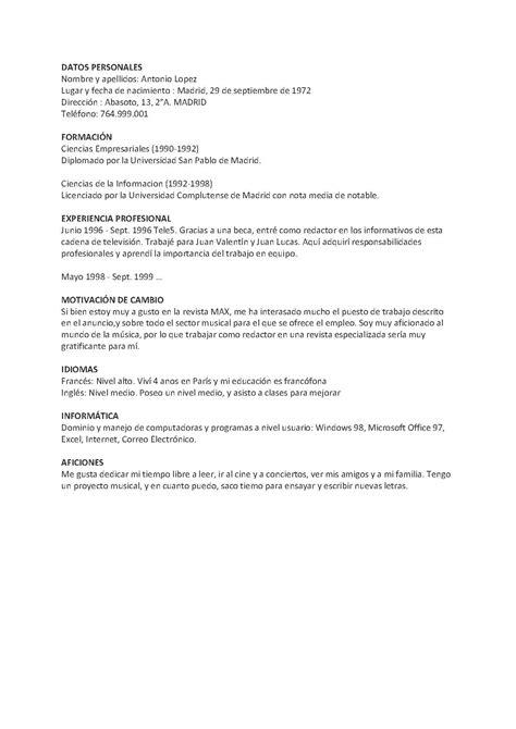lebenslauf spanisch bewerben auf spanisch staufenbielde - Lebenslauf Spanisch