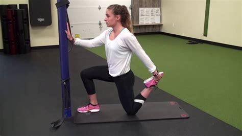 bilateral quad hip flexor stretch video screens