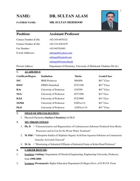 biodata resume samples