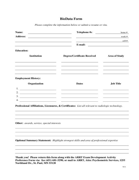 Biodata Form In English Biodata Form Format For Job Application Free Download
