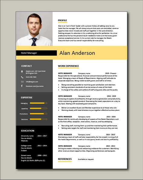 sample hotel resume examples