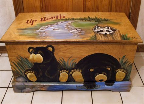 black painted toy chest
