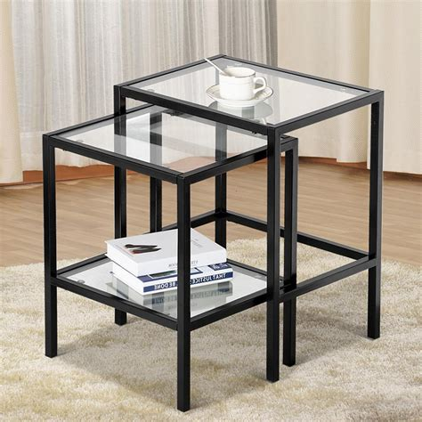 Black Metal And Glass End Tables