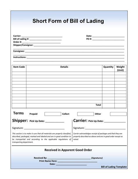 blank bill of lading short form pdf