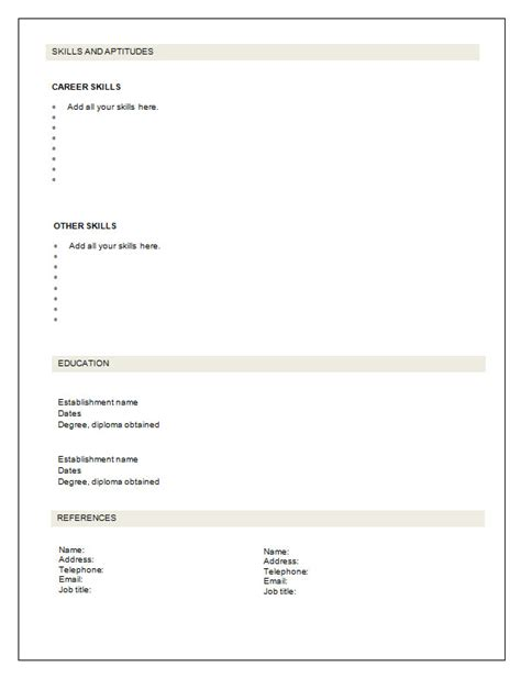 cv layout template free download   cover letter architecture fresh    cv layout template free download blank cv template download no information previous