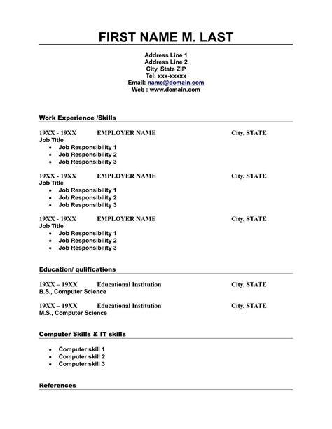 blank job resume format blank resume form for job blank resume template printable - Free Pdf Resume Templates